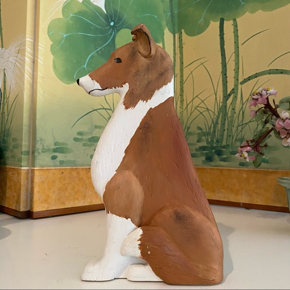 Vintage Handmade Wood Painted Collie Dog Bookend